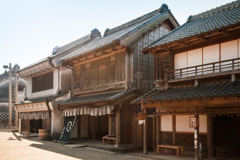 De het oude huis en straat van Edo in Boso Geen Mura Openluchtmuseum, Chiba, royalty-vrije stock afbeelding