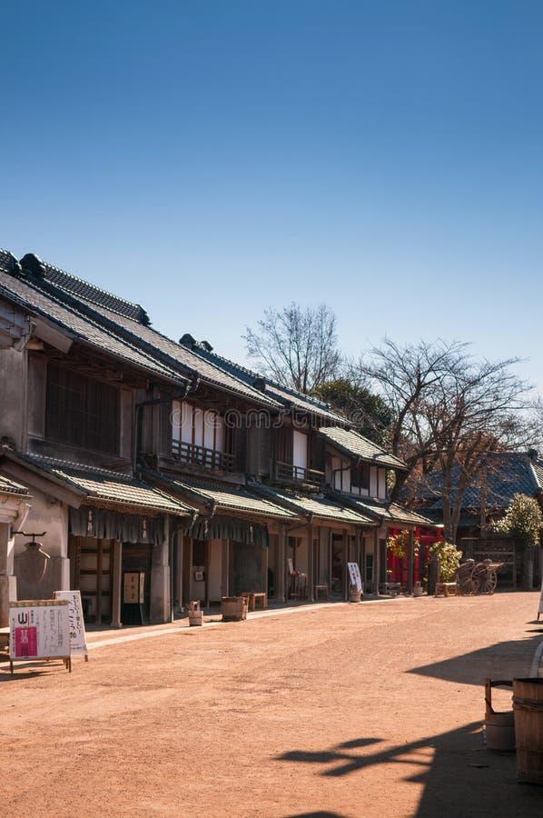 De het oude huis en straat van Edo in Boso Geen Mura Openluchtmuseum, Chiba, royalty-vrije stock fotografie