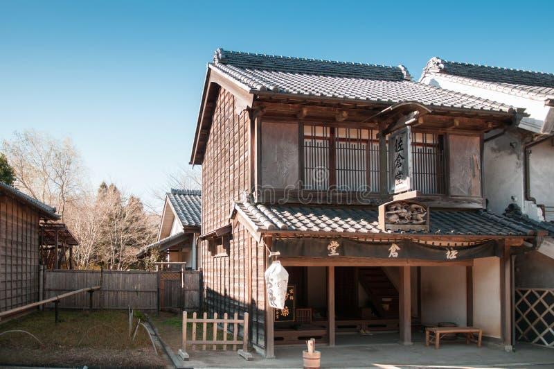 De het oude huis en straat van Edo in Boso Geen Mura Openluchtmuseum, Chiba, royalty-vrije stock afbeeldingen