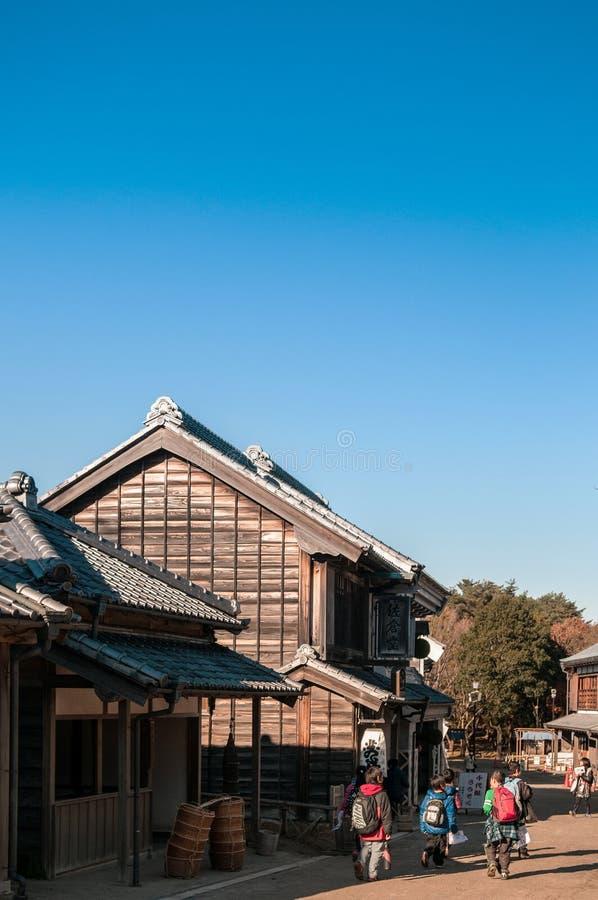 De het oude huis en straat van Edo in Boso Geen Mura Openluchtmuseum, Chiba, stock afbeelding