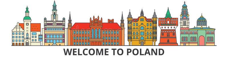 De het overzichtshorizon van Polen, poetst vlakke dunne lijnpictogrammen, oriëntatiepunten, illustraties op Cityscape van Polen,  royalty-vrije illustratie