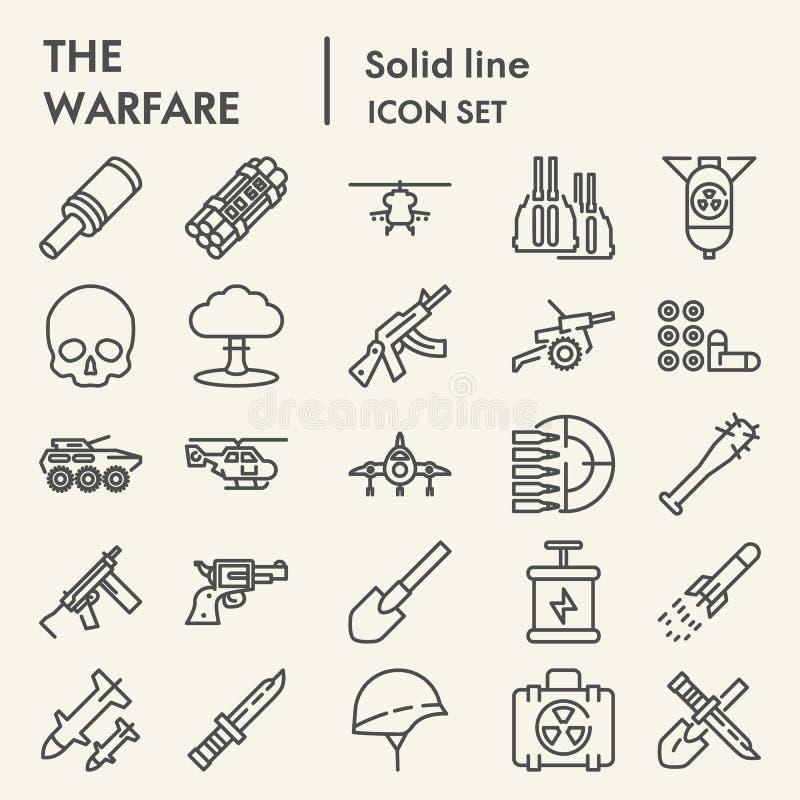 De het pictogramreeks van de oorlogvoeringslijn, de inzameling van legersymbolen, vectorschetsen, embleemillustraties, oorlog ond royalty-vrije illustratie