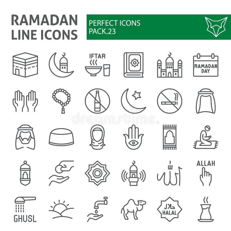 De het pictogramreeks van de Ramadanlijn, Islamitische symboleninzameling, vectorschetsen, embleemillustraties, moslim onderteken royalty-vrije illustratie