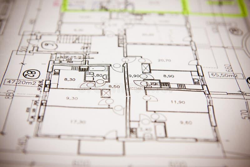 De het planblauwdrukken van het huis sluiten omhoog stock foto