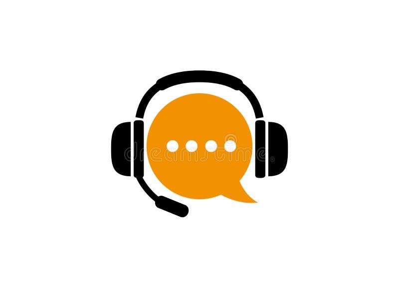 De het praatjesymbool en hoofdtelefoon met microfoon voor klantenservices helpen voor de illustratie van het embleemontwerp stock illustratie