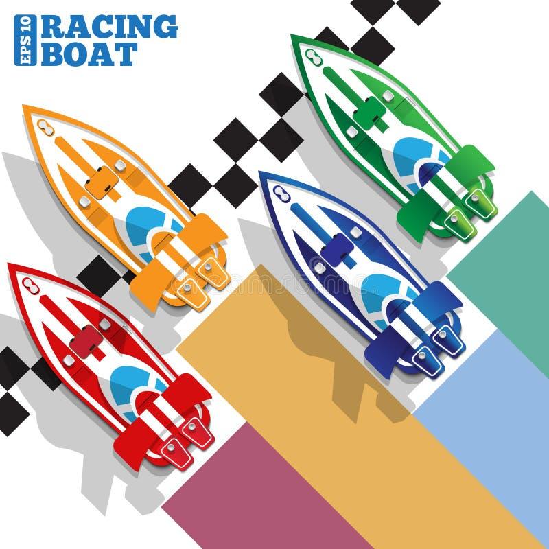 De het rennen boten bij de afwerkingslijn vector illustratie