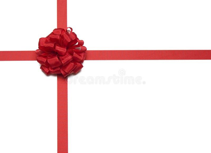 De het Rode Lint en Boog van Kerstmis stock afbeeldingen
