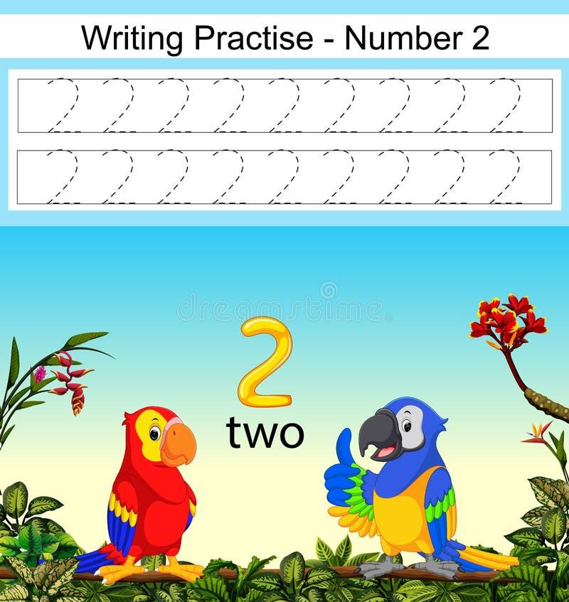 De het schrijven praktijken nummer 2 met twee mooie papegaaien onder het stock illustratie