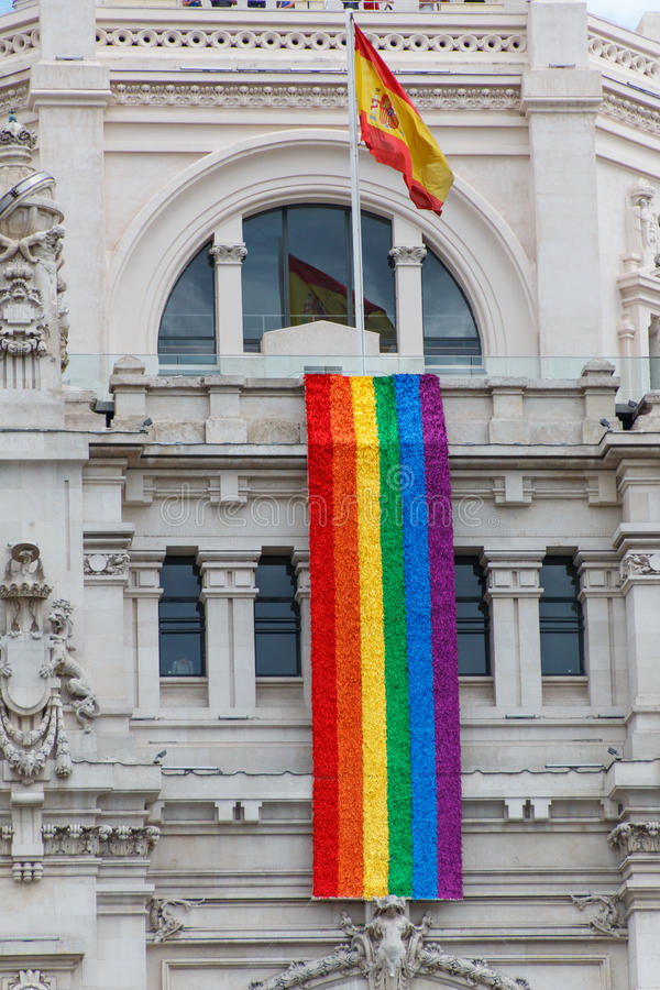 De het stadhuisbouw van Madrid stock foto