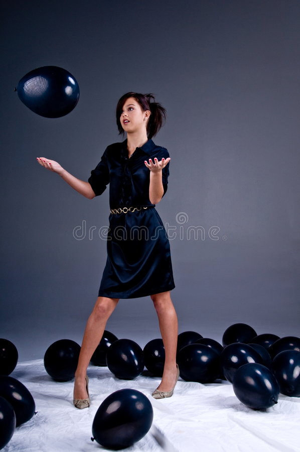 De het tiener Meisje en Ballons van de Manier stock foto's
