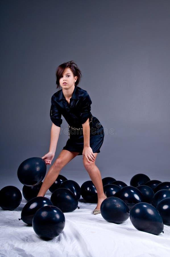 De het tiener Meisje en Ballons van de Manier royalty-vrije stock foto's