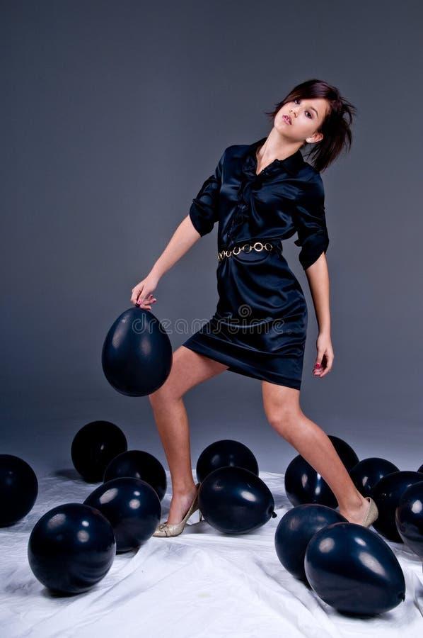 De het tiener Meisje en Ballons van de Manier stock afbeelding