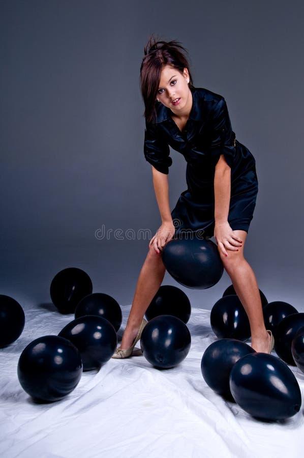 De het tiener Meisje en Ballons van de Manier royalty-vrije stock afbeeldingen