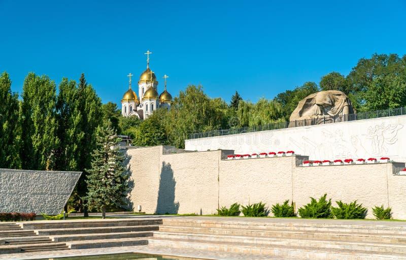 De het Treuren Moeder, een standbeeld op Mamayev Kurgan in Volgograd, Rusland royalty-vrije stock foto's