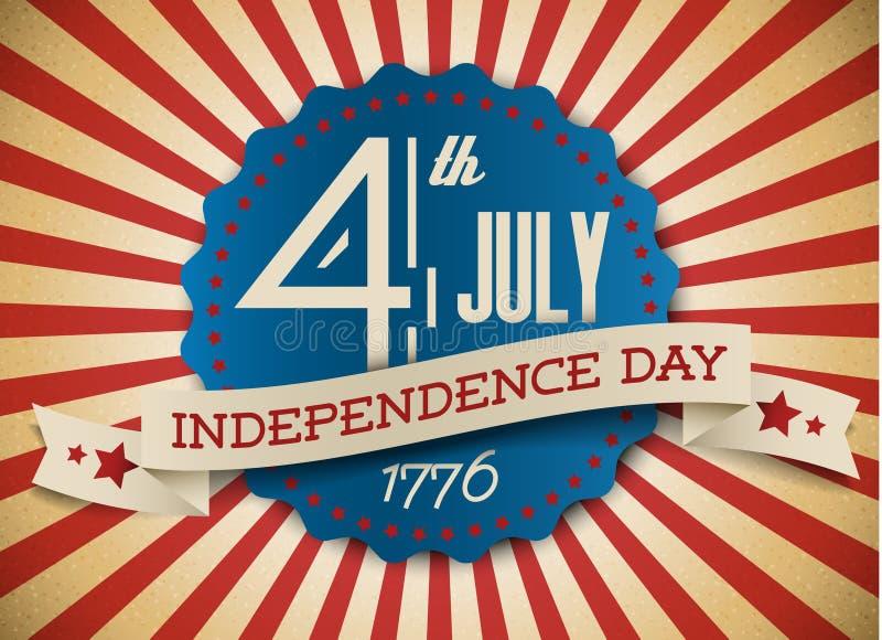 De het vector kenteken/affiche van de onafhankelijkheidsdag vector illustratie