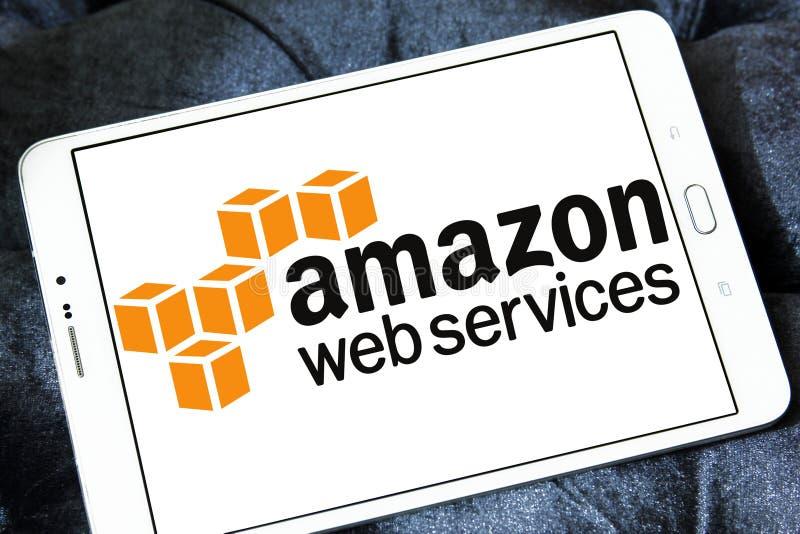 De het Webdiensten van Amazonië, AWS, embleem royalty-vrije stock afbeelding