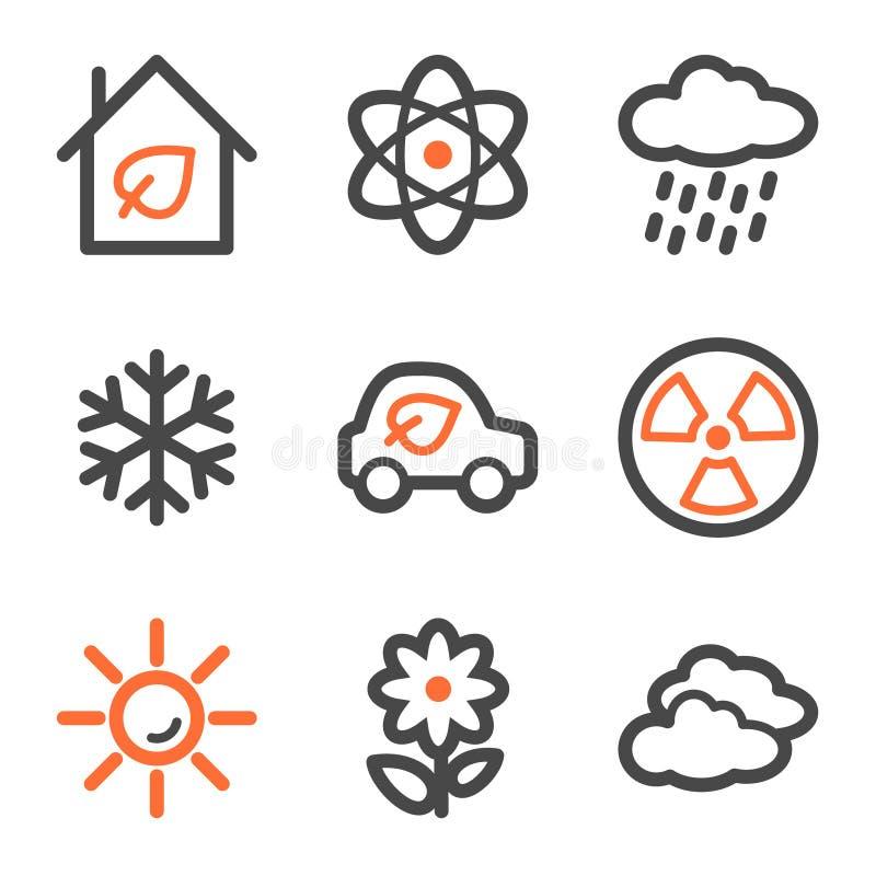 De het Webpictogrammen van de ecologie plaatsen 2, oranje en grijze contour vector illustratie