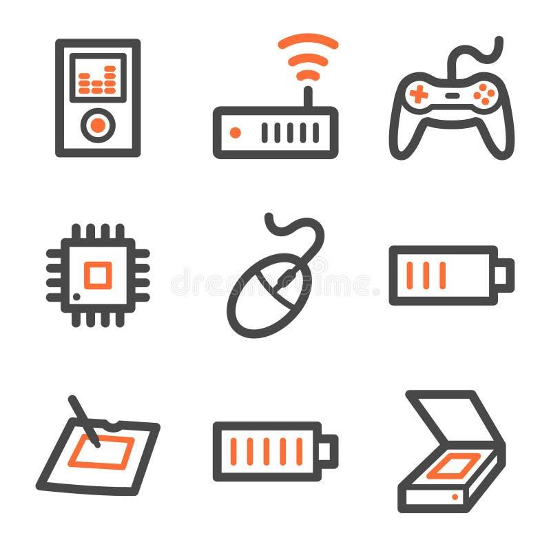 De het Webpictogrammen van de elektronika plaatsen 2, oranje-grijze contour vector illustratie
