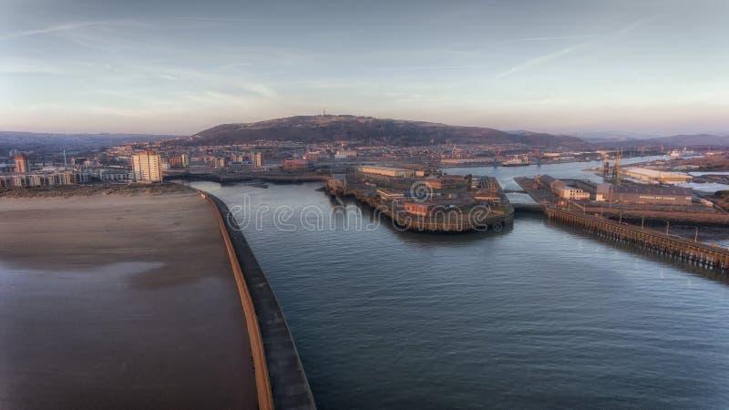 De het westen en van het oosten pijlers in Swansea royalty-vrije stock foto