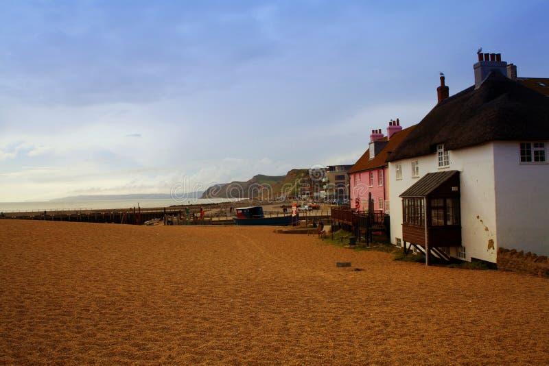 De het westenbaai, Strand ook als Bridport-Haven wordt bekend, is een kleine havenregeling en een toevlucht op de Engelse Kanaalk stock foto