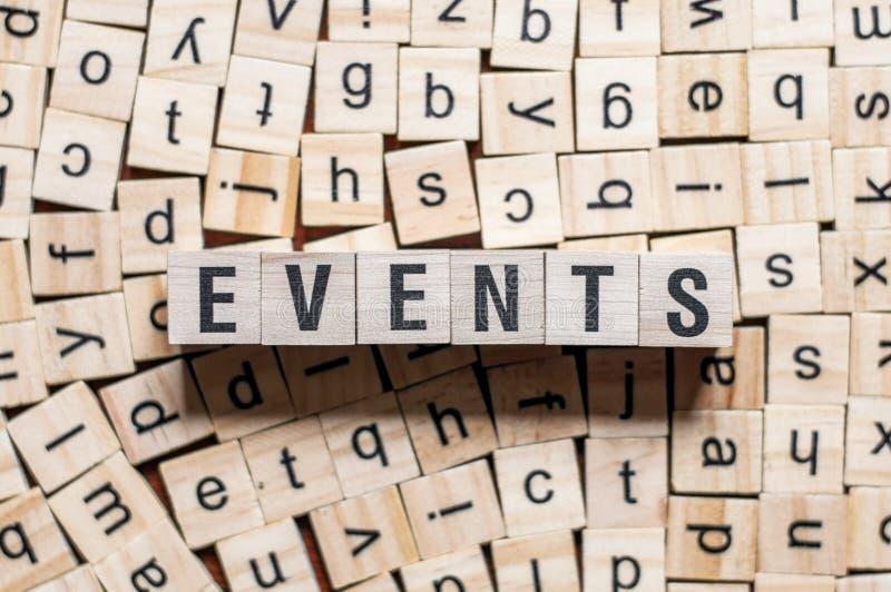 De het woordachtergrond van gebeurtenissen op houtblokken stock afbeelding