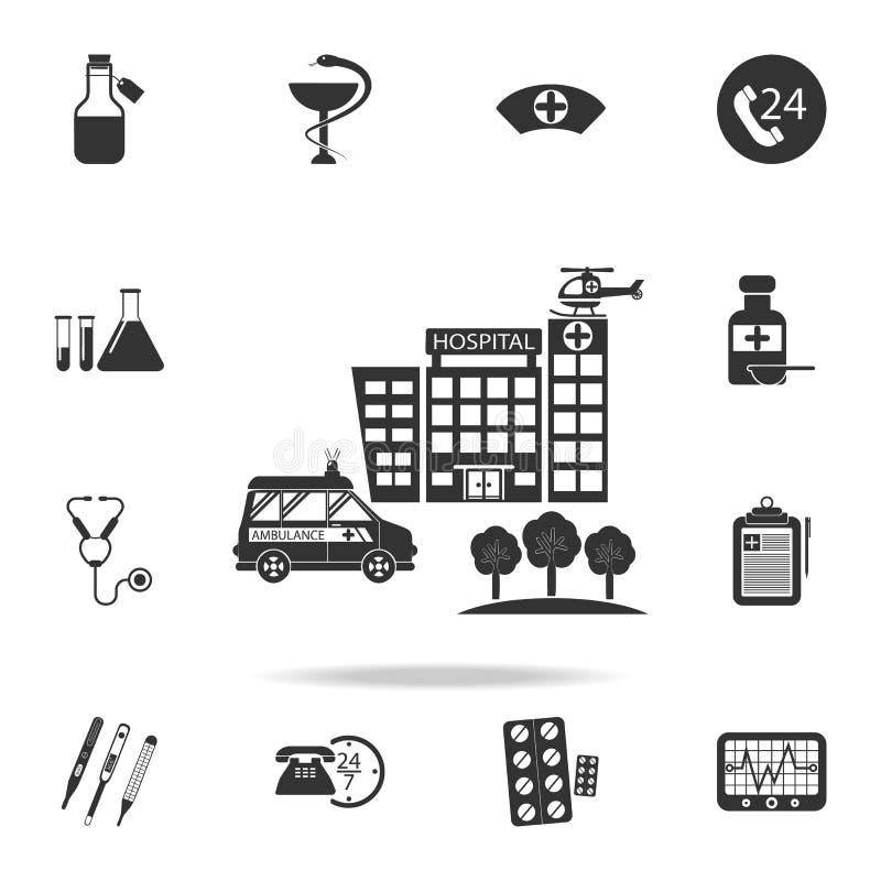 De het ziekenhuisbouw, medisch illustratiepictogram Gedetailleerde reeks van de Illustratie van het geneeskundeelement Het grafis stock illustratie