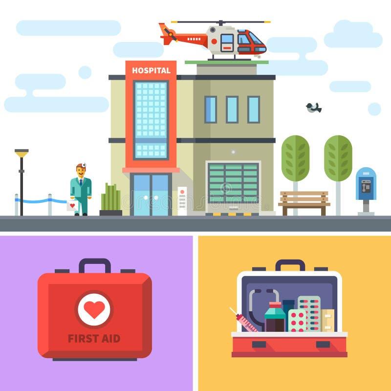 De het ziekenhuisbouw met een helikopter op dak stock illustratie