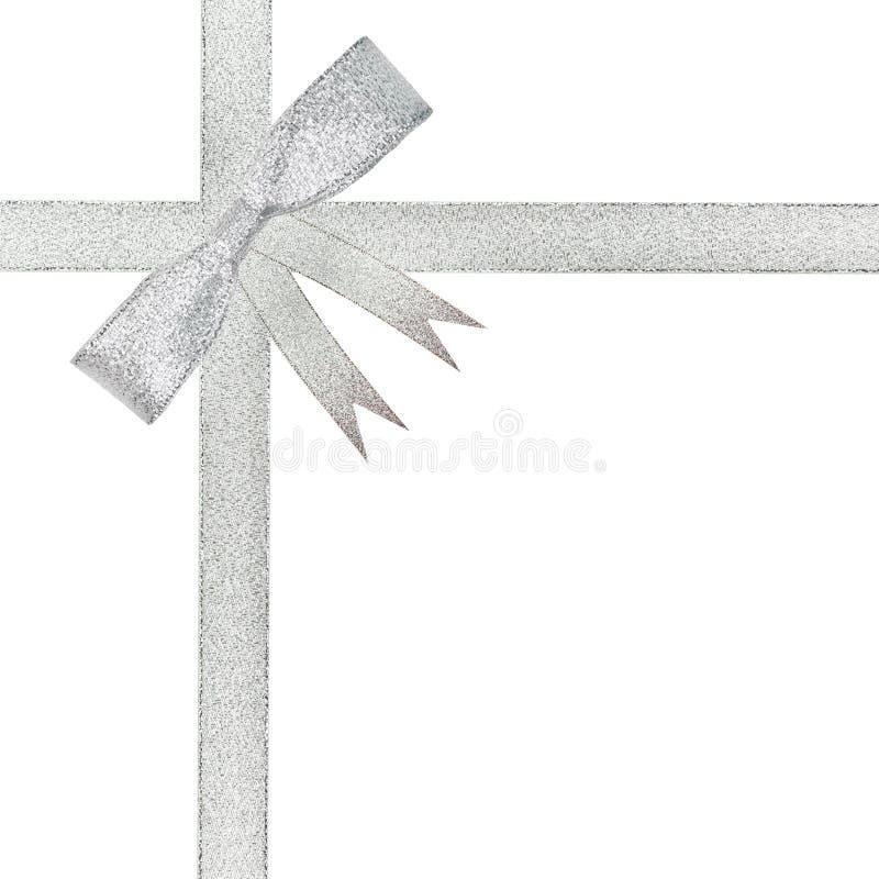 De het zilveren lint en boog van Kerstmis royalty-vrije stock afbeelding