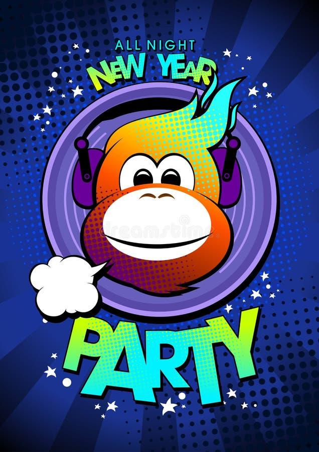 de hete aap van 2016 in partij van het oortelefoons de Nieuwe jaar vector illustratie