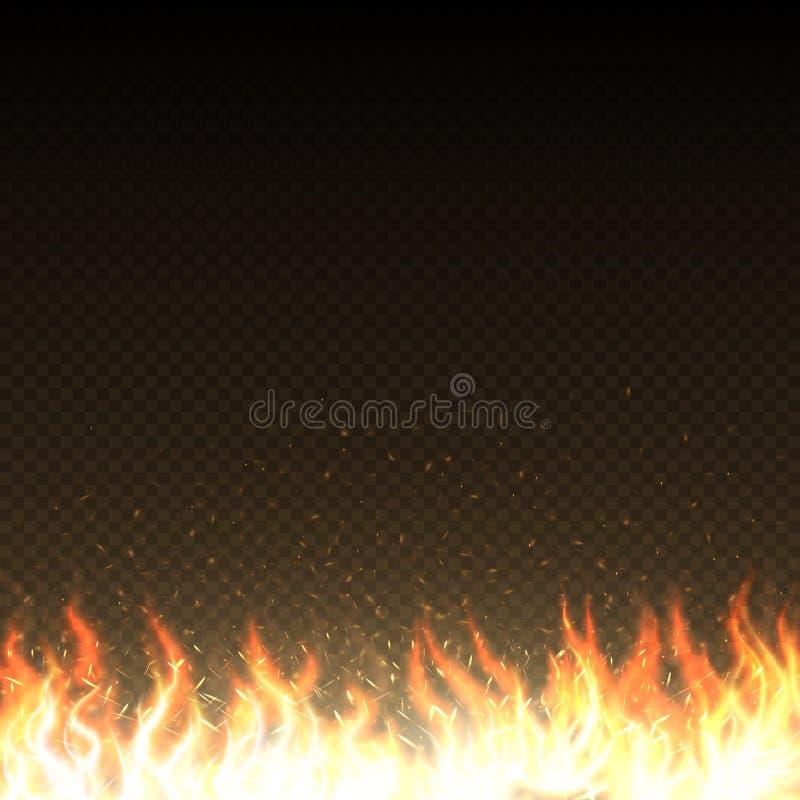 De hete brandvlammen met gloeiende vonken isoleerden vectormalplaatje vector illustratie