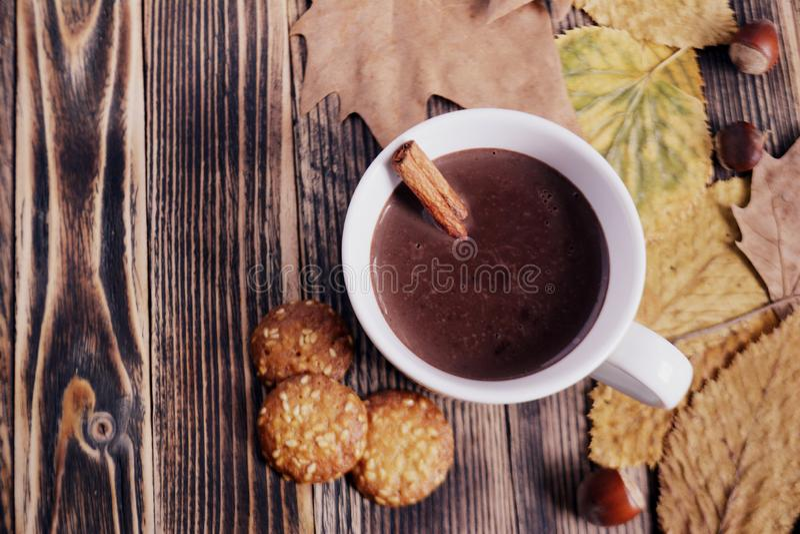 De hete chocolade met pijpje kaneel in kop verlaat notenkoekjes droge sinaasappelen op houten lijst royalty-vrije stock fotografie