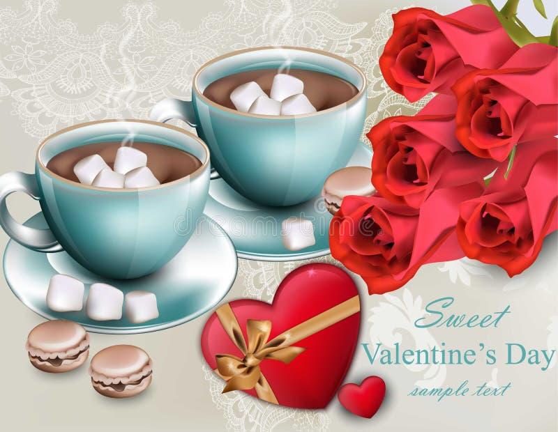 De hete Chocolade met rode rozen bloeit Vector Zoete de dagkaarten van koffievalentijnskaarten royalty-vrije illustratie