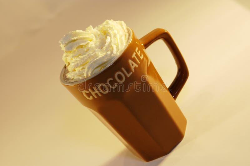 De hete chocolademelk ranselt room stock fotografie