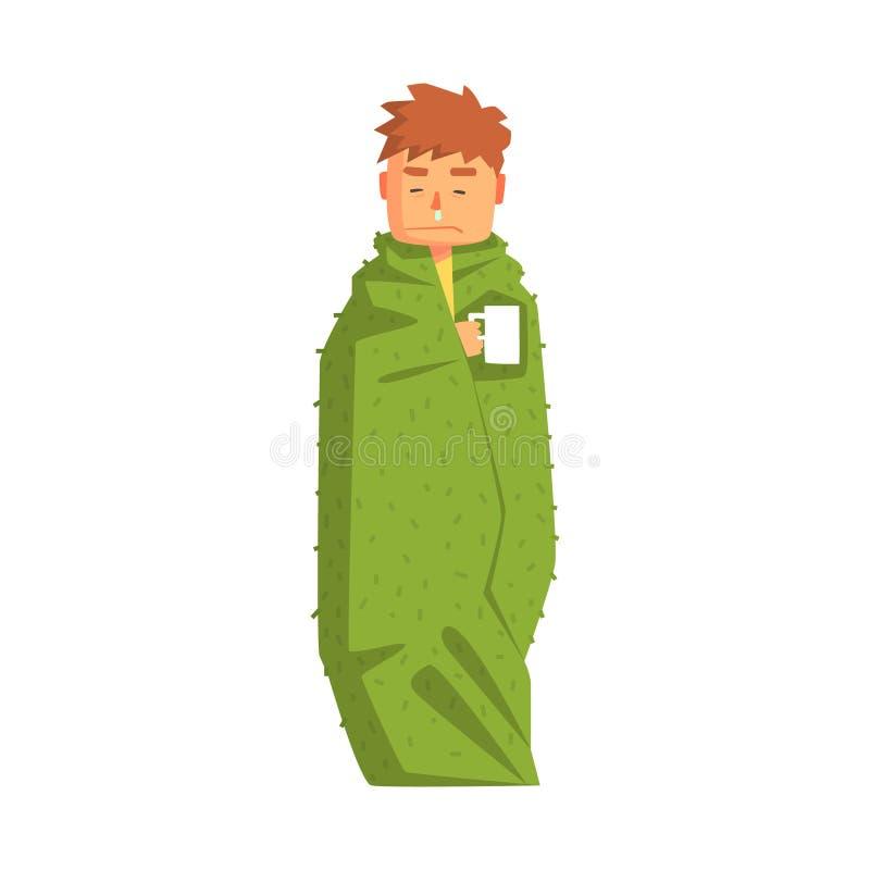 De Hete Drank die van Guy Wrapped In Blanket With Koud, Volwassen Person Feeling Unwell, Zieken hebben, die aan Ziekte lijden royalty-vrije illustratie