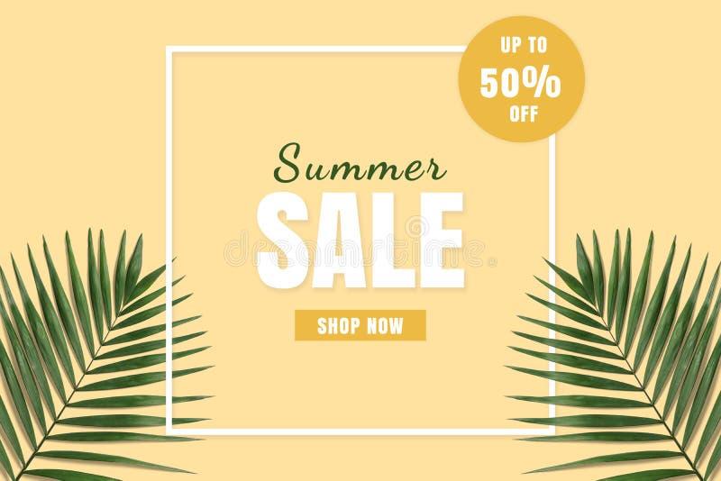 De hete flatlay verkoop van de prijszomer De banner van de de zomerverkoop De korting van de speciale aanbiedingaffiche royalty-vrije stock foto
