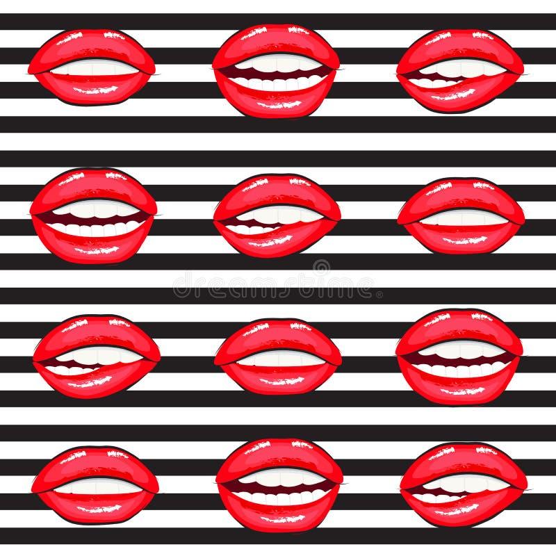 De hete inzameling van het lippen vectorbeeldverhaal stock foto