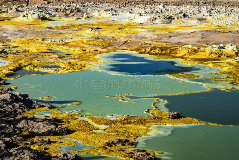 De hete lentes in Dallol, Danakil-Woestijn, Ethiopië royalty-vrije stock foto