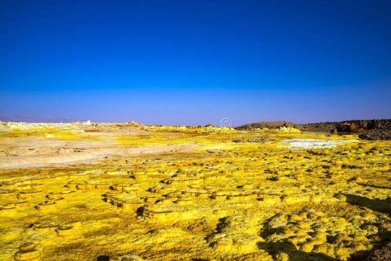 De hete lentes in Dallol, Danakil-Woestijn, Ethiopië royalty-vrije stock afbeelding