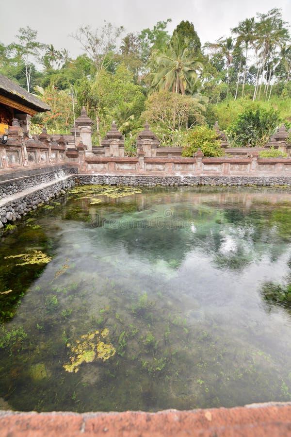De hete lentes in de heilige vijver Tirta Empul Tampaksiring Gianyarregentaat bali indonesië stock fotografie