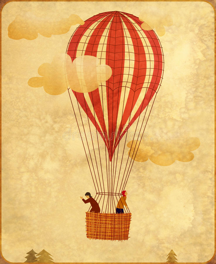 Uitstekende hete luchtballon stock illustratie
