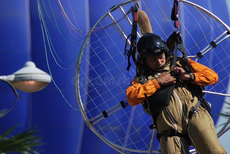 De hete luchtballon photgrphed in Bealton, toont de Vliegende Lucht van het Circus VA stock foto