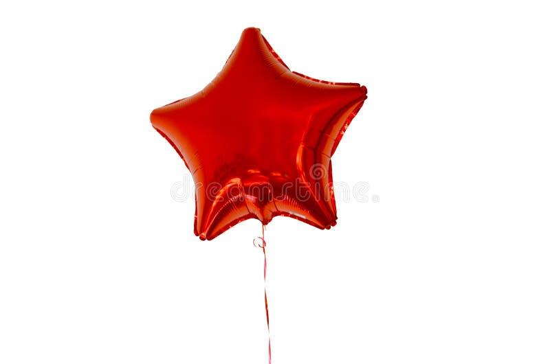 De hete luchtballon in de vorm van een ster van rode kleur op witte achtergrond isoleert royalty-vrije stock foto