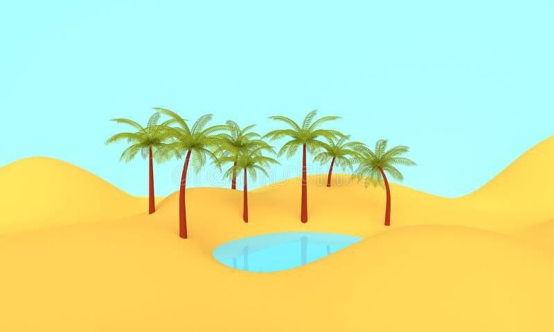 De hete oase van het de zomerlandschap het 3d teruggeven vector illustratie