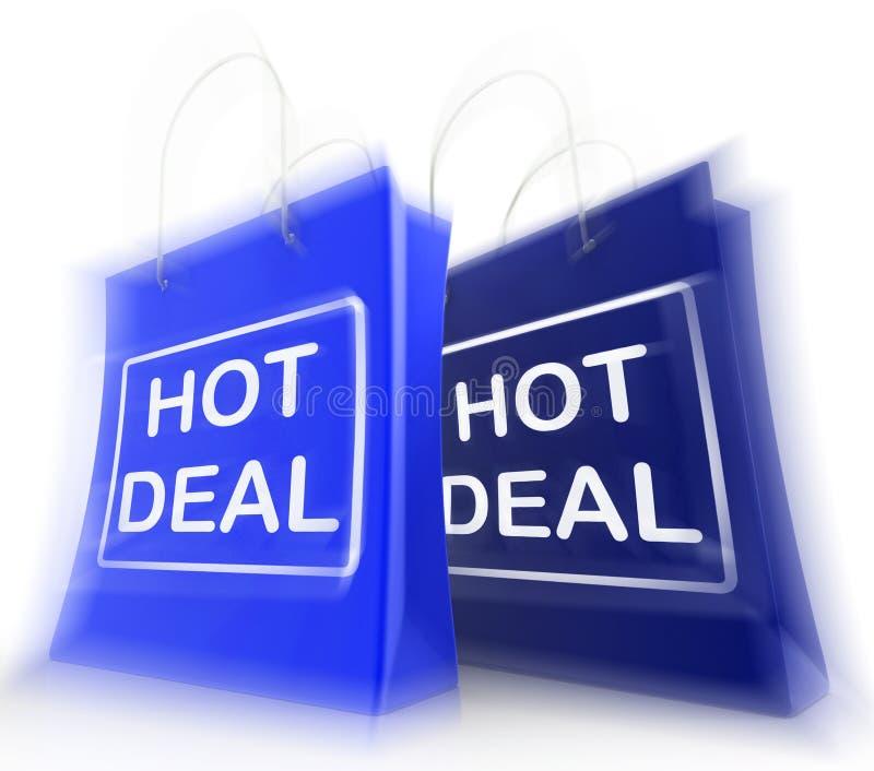 De hete Overeenkomst het Winkelen Zakken tonen het Winkelen Kortingen en Koopjes vector illustratie