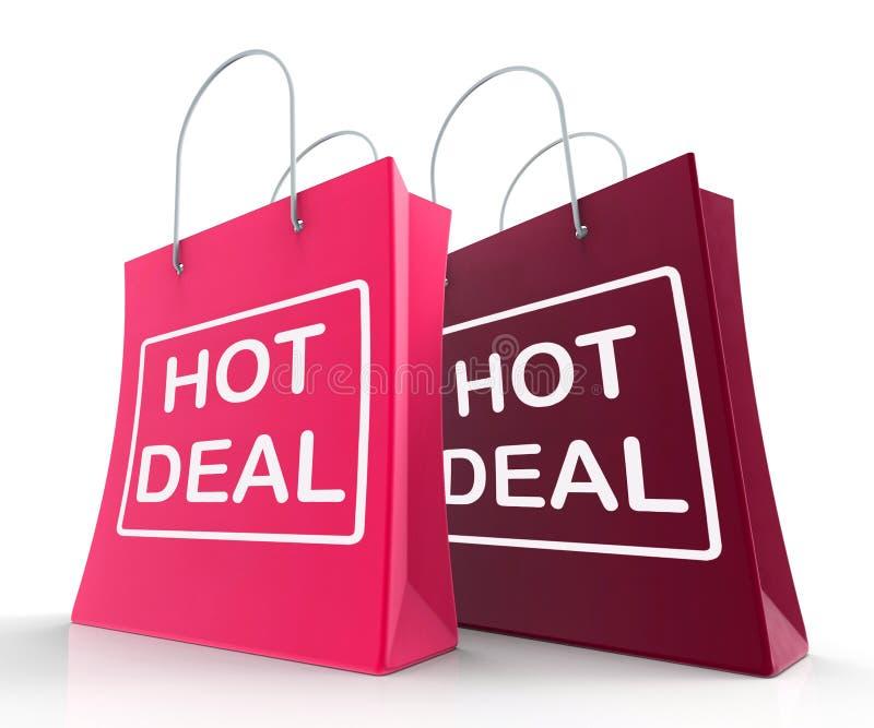 De hete Overeenkomstenzakken tonen het Winkelen Kortingen en Koopjes royalty-vrije illustratie
