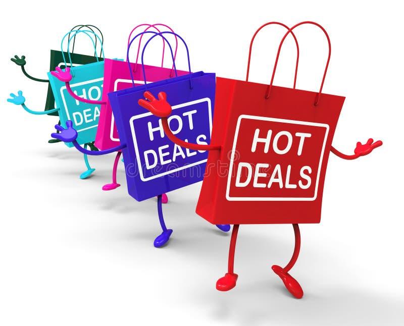 De hete Overeenkomstenzakken vertegenwoordigen het Winkelen Kortingen en Koopjes stock illustratie