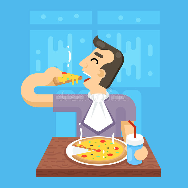 De hete Pizzamens eet het Concept van het Symboolpictogram op Modieuze Achtergrond stock illustratie