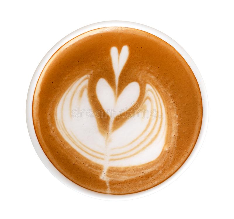 De hete van het de kunsthart van de koffiecappuccino latte van de de bloemvorm hoogste die mening op witte achtergrond, het knipp royalty-vrije stock foto