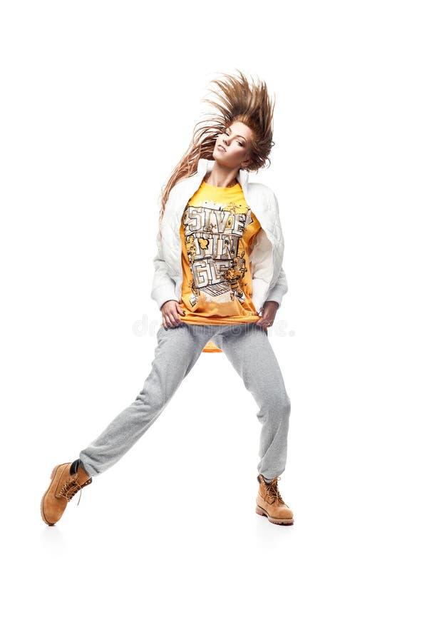 De heup-hop van het meisje danser stock afbeelding