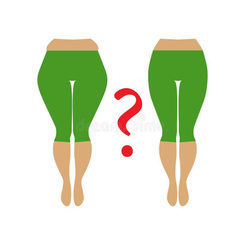De heup van de vette en slanke vrouw Illustratie van een vrouw met cellulite vector illustratie
